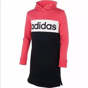 Adidas Girls Large 14 Core Hooded Dress Pink Black